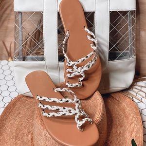 Braided Goddess Sandals White & Gold Tiara LA